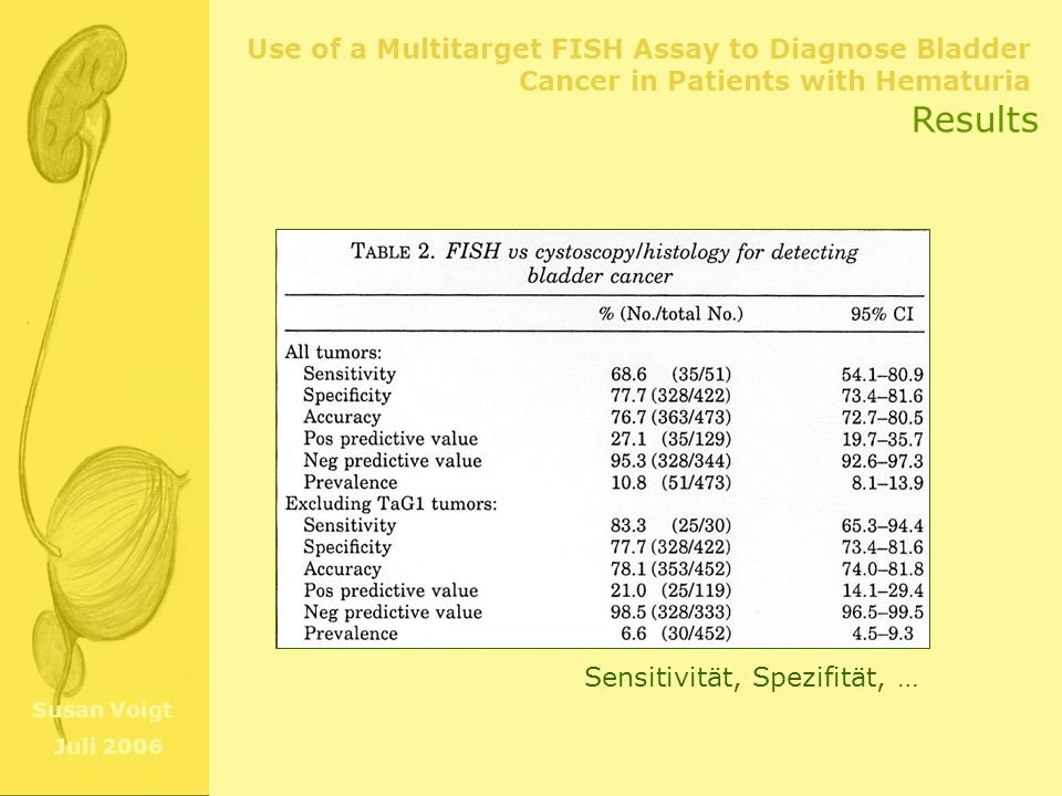 Use of a Multitarget FISH Assay to Diagnose Bladder Cancer in Patients with Hematuria Susan Voigt Juli 2006 Results Sensitivität, Spezifität, …