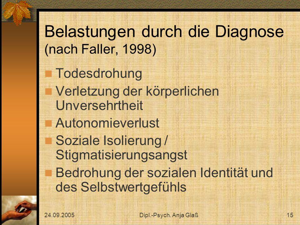 24.09.2005Dipl.-Psych. Anja Glaß15 Belastungen durch die Diagnose (nach Faller, 1998) Todesdrohung Verletzung der körperlichen Unversehrtheit Autonomi