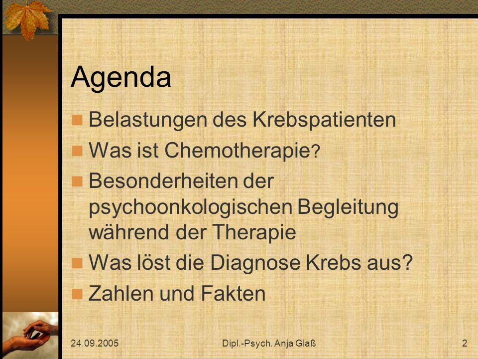 24.09.2005Dipl.-Psych. Anja Glaß2 Agenda Belastungen des Krebspatienten Was ist Chemotherapie ? Besonderheiten der psychoonkologischen Begleitung währ