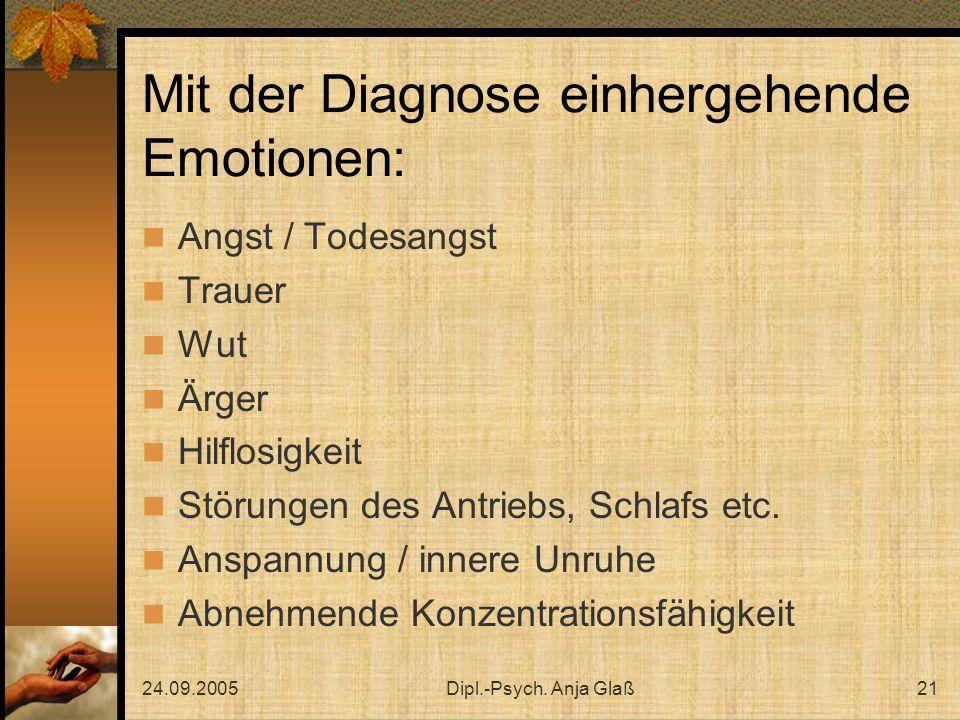 24.09.2005Dipl.-Psych. Anja Glaß21 Mit der Diagnose einhergehende Emotionen: Angst / Todesangst Trauer Wut Ärger Hilflosigkeit Störungen des Antriebs,