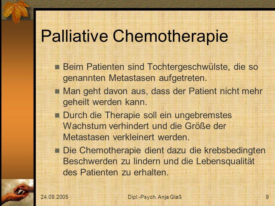 24.09.2005Dipl.-Psych. Anja Glaß9 Palliative Chemotherapie Beim Patienten sind Tochtergeschwülste, die so genannten Metastasen aufgetreten. Man geht d
