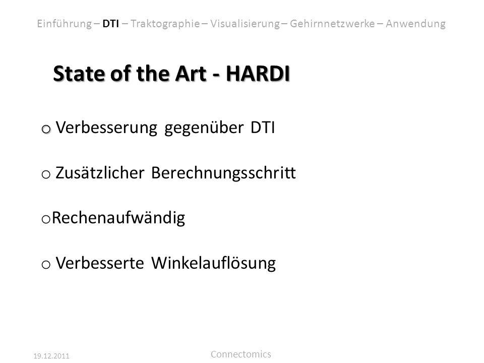 19.12.2011 Connectomics State of the Art - HARDI o o Verbesserung gegenüber DTI o Zusätzlicher Berechnungsschritt o Rechenaufwändig o Verbesserte Wink