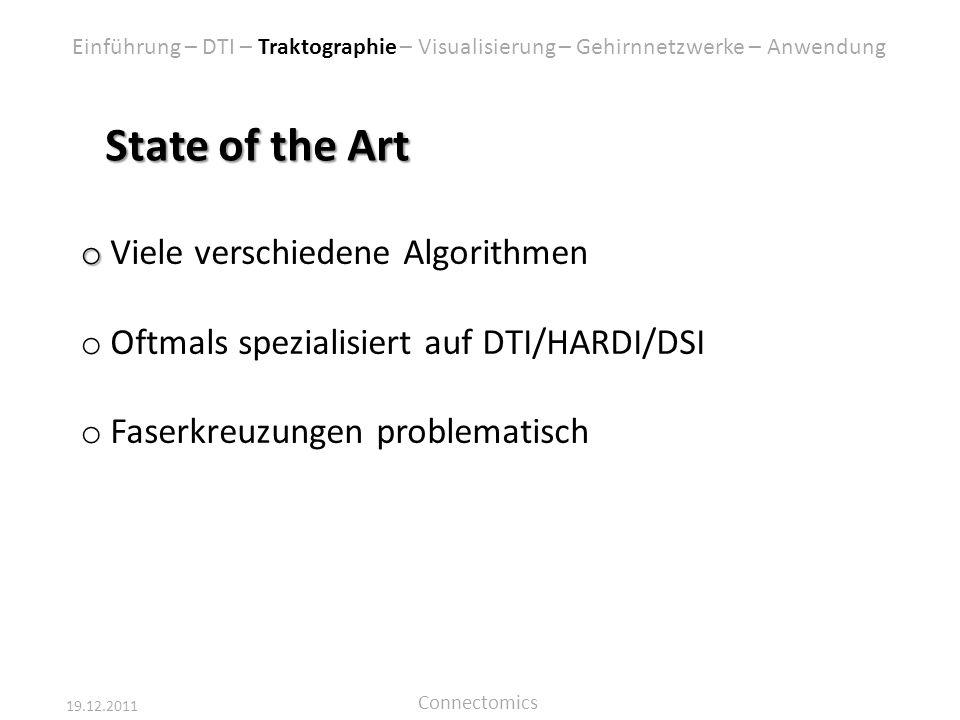 19.12.2011 Connectomics State of the Art o o Viele verschiedene Algorithmen o Oftmals spezialisiert auf DTI/HARDI/DSI o Faserkreuzungen problematisch