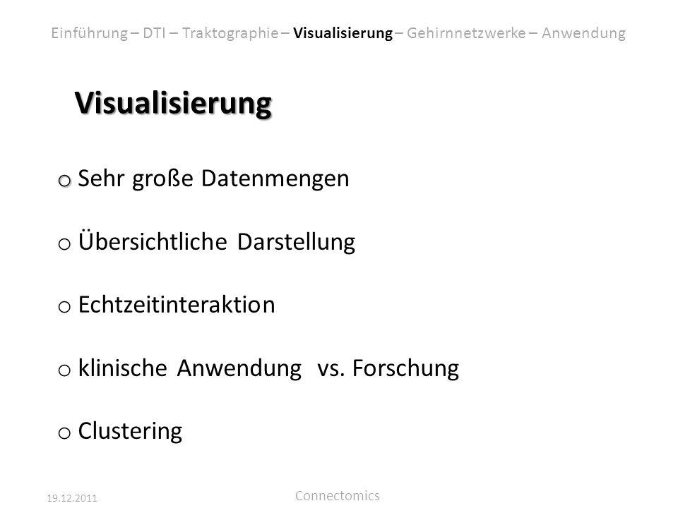 19.12.2011 Connectomics Visualisierung o o Sehr große Datenmengen o Übersichtliche Darstellung o Echtzeitinteraktion o klinische Anwendung vs. Forschu