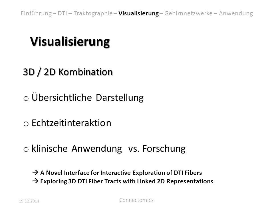 19.12.2011 Connectomics Visualisierung 3D / 2D Kombination o Übersichtliche Darstellung o Echtzeitinteraktion o klinische Anwendung vs. Forschung A No