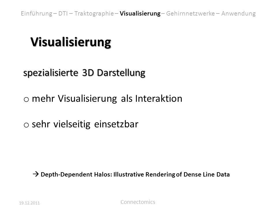 19.12.2011 Connectomics Visualisierung spezialisierte 3D Darstellung o mehr Visualisierung als Interaktion o sehr vielseitig einsetzbar Depth-Dependen