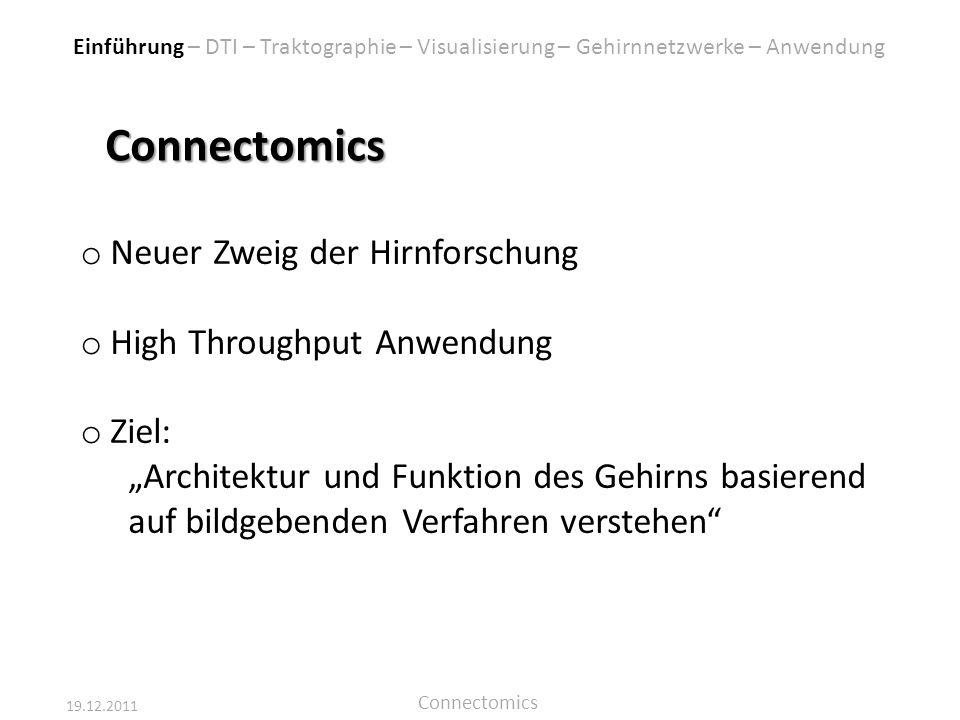 19.12.2011 Connectomics Connectomics o Neuer Zweig der Hirnforschung o High Throughput Anwendung o Ziel: Architektur und Funktion des Gehirns basieren