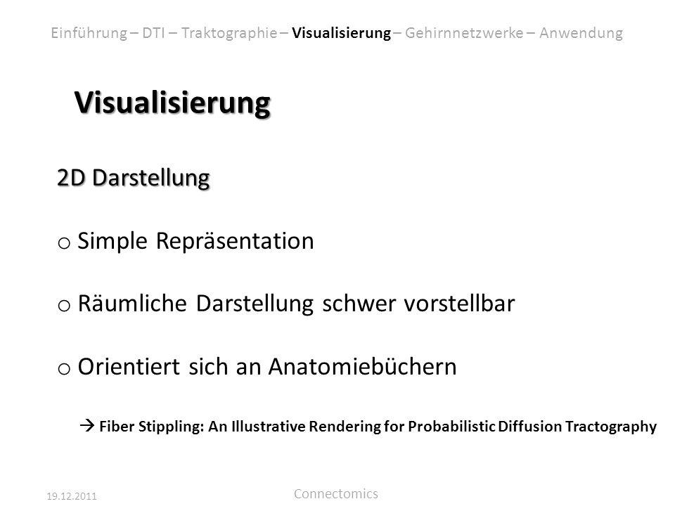 19.12.2011 Connectomics Visualisierung 2D Darstellung o Simple Repräsentation o Räumliche Darstellung schwer vorstellbar o Orientiert sich an Anatomie