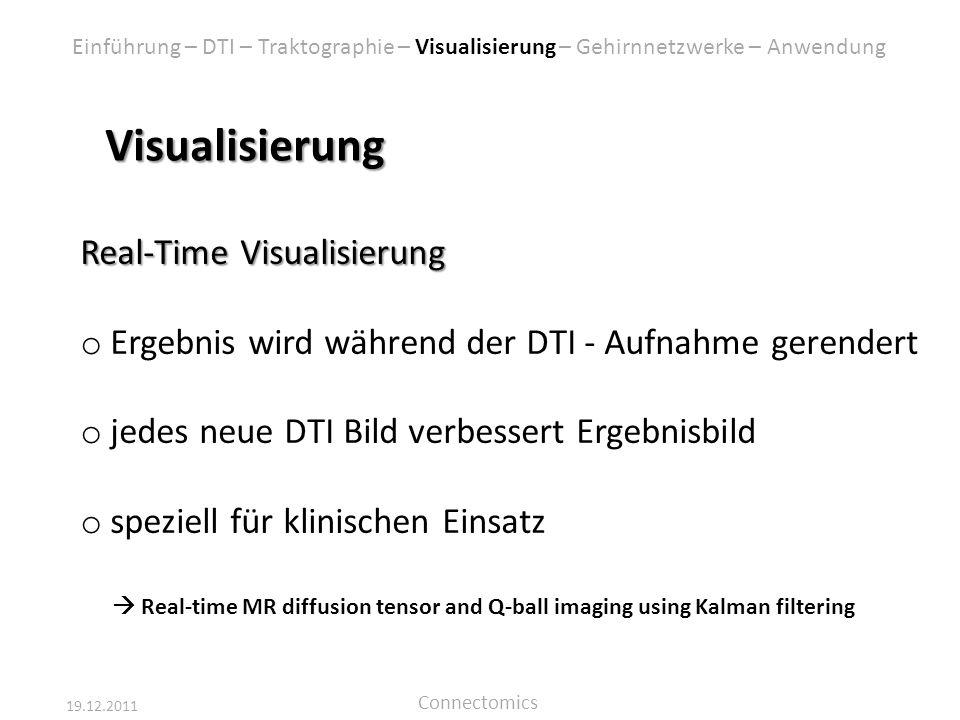 19.12.2011 Connectomics Visualisierung Real-Time Visualisierung o Ergebnis wird während der DTI - Aufnahme gerendert o jedes neue DTI Bild verbessert