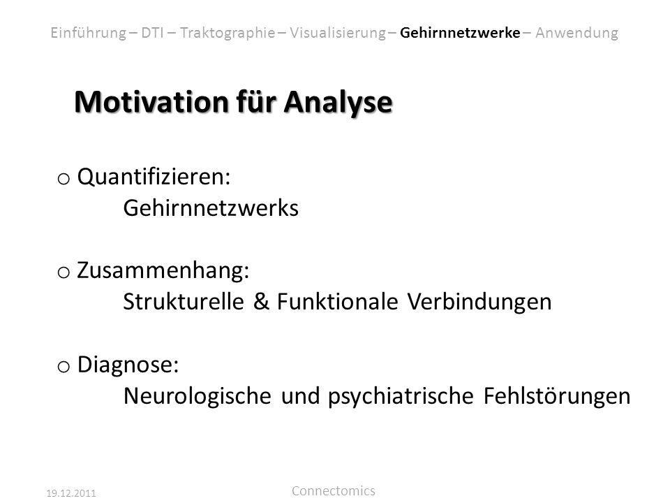 19.12.2011 Connectomics Motivation für Analyse o Quantifizieren: Gehirnnetzwerks o Zusammenhang: Strukturelle & Funktionale Verbindungen o Diagnose: N