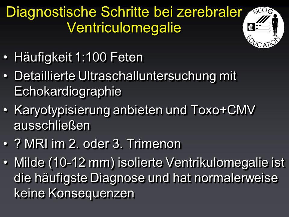 Diagnostische Schritte bei zerebraler Ventriculomegalie Häufigkeit 1:100 FetenHäufigkeit 1:100 Feten Detaillierte Ultraschalluntersuchung mit EchokardiographieDetaillierte Ultraschalluntersuchung mit Echokardiographie Karyotypisierung anbieten und Toxo+CMV ausschließenKaryotypisierung anbieten und Toxo+CMV ausschließen .
