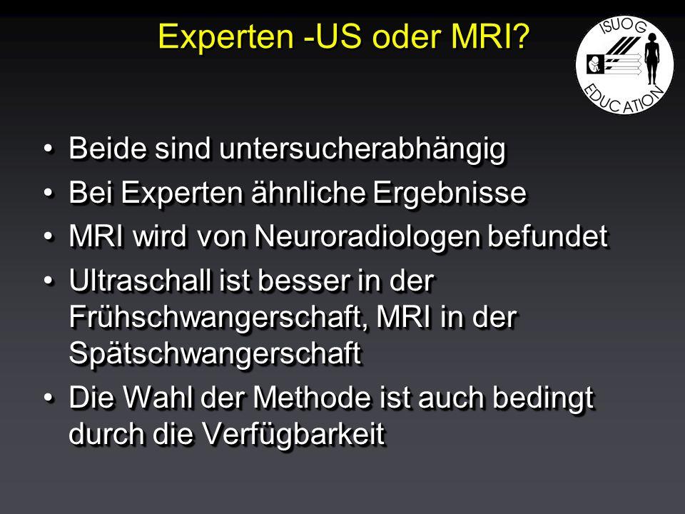Beide sind untersucherabhängigBeide sind untersucherabhängig Bei Experten ähnliche ErgebnisseBei Experten ähnliche Ergebnisse MRI wird von Neuroradiologen befundetMRI wird von Neuroradiologen befundet Ultraschall ist besser in der Frühschwangerschaft, MRI in der SpätschwangerschaftUltraschall ist besser in der Frühschwangerschaft, MRI in der Spätschwangerschaft Die Wahl der Methode ist auch bedingt durch die VerfügbarkeitDie Wahl der Methode ist auch bedingt durch die Verfügbarkeit Beide sind untersucherabhängigBeide sind untersucherabhängig Bei Experten ähnliche ErgebnisseBei Experten ähnliche Ergebnisse MRI wird von Neuroradiologen befundetMRI wird von Neuroradiologen befundet Ultraschall ist besser in der Frühschwangerschaft, MRI in der SpätschwangerschaftUltraschall ist besser in der Frühschwangerschaft, MRI in der Spätschwangerschaft Die Wahl der Methode ist auch bedingt durch die VerfügbarkeitDie Wahl der Methode ist auch bedingt durch die Verfügbarkeit Experten -US oder MRI?