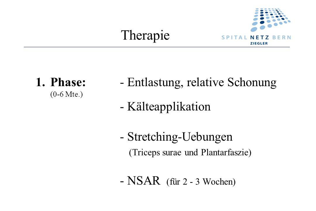 Therapie 1.Phase:- Entlastung, relative Schonung (0-6 Mte.) - Kälteapplikation - Stretching-Uebungen (Triceps surae und Plantarfaszie) - NSAR (für 2 -