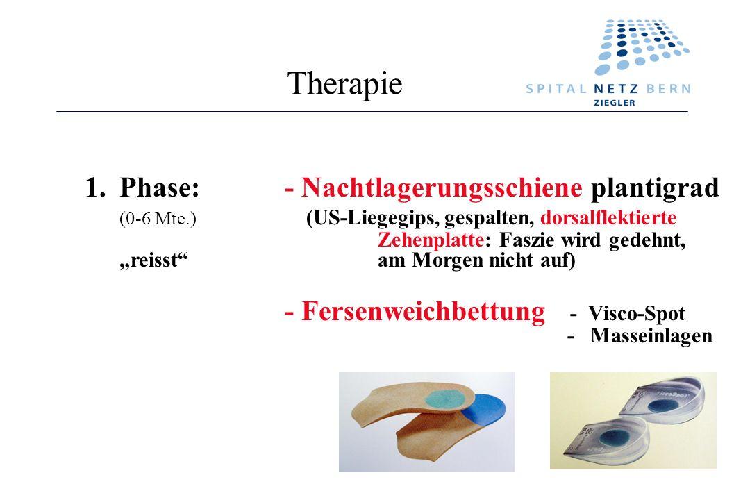 Therapie 1.Phase:- Nachtlagerungsschiene plantigrad (0-6 Mte.) (US-Liegegips, gespalten, dorsalflektierte Zehenplatte: Faszie wird gedehnt, reisst am