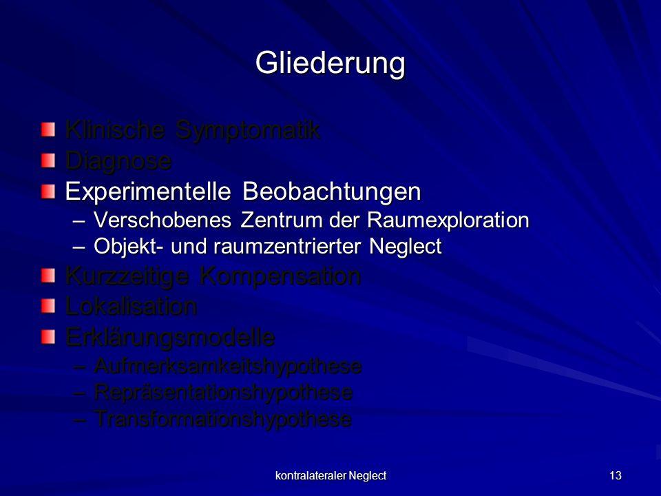 kontralateraler Neglect 13 Gliederung Klinische Symptomatik Diagnose Experimentelle Beobachtungen –Verschobenes Zentrum der Raumexploration –Objekt- u