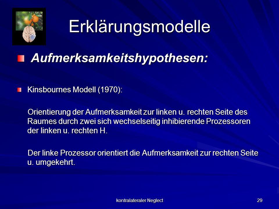 kontralateraler Neglect 29 Erklärungsmodelle Aufmerksamkeitshypothesen: Aufmerksamkeitshypothesen: Kinsbournes Modell (1970): Orientierung der Aufmerk
