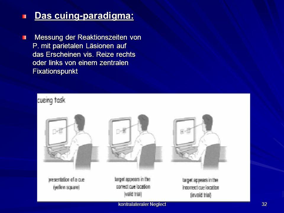 kontralateraler Neglect 32 Das cuing-paradigma: Das cuing-paradigma: Messung der Reaktionszeiten von P. mit parietalen Läsionen auf das Erscheinen vis