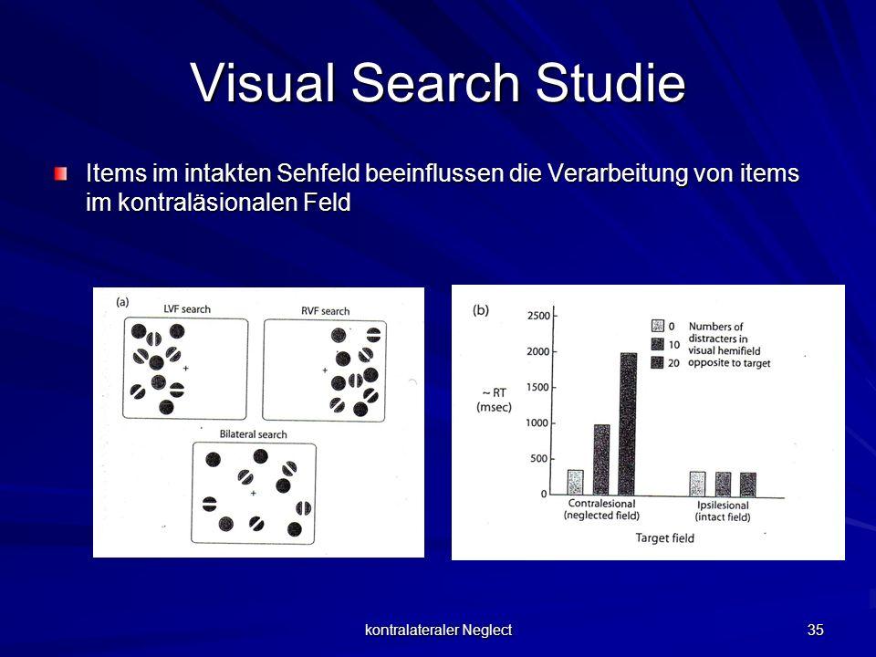 kontralateraler Neglect 35 Visual Search Studie Items im intakten Sehfeld beeinflussen die Verarbeitung von items im kontraläsionalen Feld