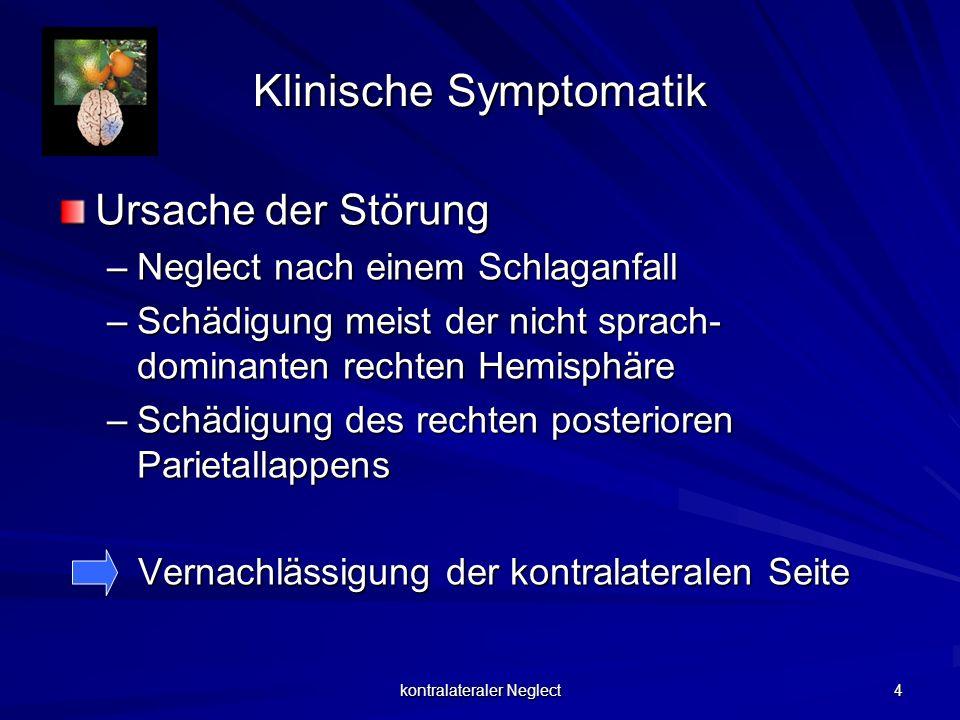 kontralateraler Neglect 4 Klinische Symptomatik Ursache der Störung –Neglect nach einem Schlaganfall –Schädigung meist der nicht sprach- dominanten re