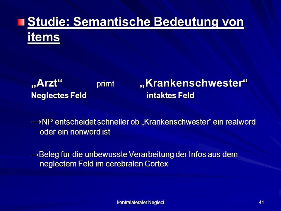 kontralateraler Neglect 41 Studie: Semantische Bedeutung von items Arzt primt Krankenschwester Neglectes Feld intaktes Feld NP entscheidet schneller o