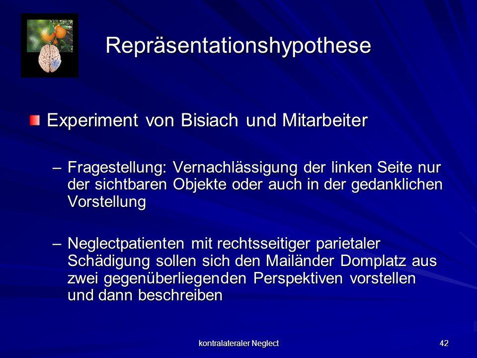 kontralateraler Neglect 42 Repräsentationshypothese Experiment von Bisiach und Mitarbeiter –Fragestellung: Vernachlässigung der linken Seite nur der s