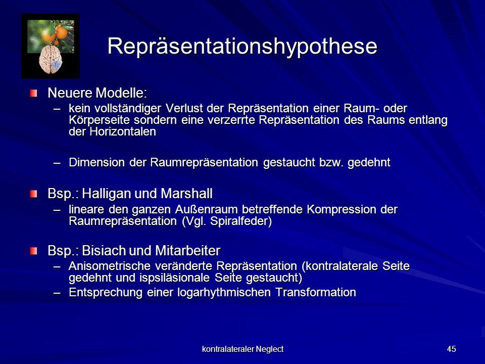 kontralateraler Neglect 45 Repräsentationshypothese Neuere Modelle: –kein vollständiger Verlust der Repräsentation einer Raum- oder Körperseite sonder