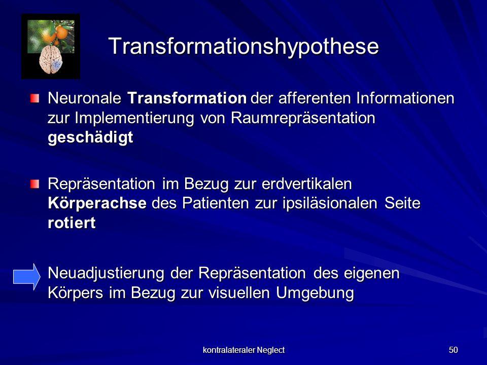 kontralateraler Neglect 50 Transformationshypothese Neuronale Transformation der afferenten Informationen zur Implementierung von Raumrepräsentation g