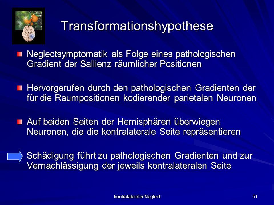 kontralateraler Neglect 51 Transformationshypothese Neglectsymptomatik als Folge eines pathologischen Gradient der Sallienz räumlicher Positionen Herv
