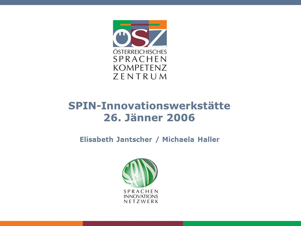 SPIN-Innovationswerkstätte am 26. Jänner 2006 SPIN-Innovationswerkstätte 26.