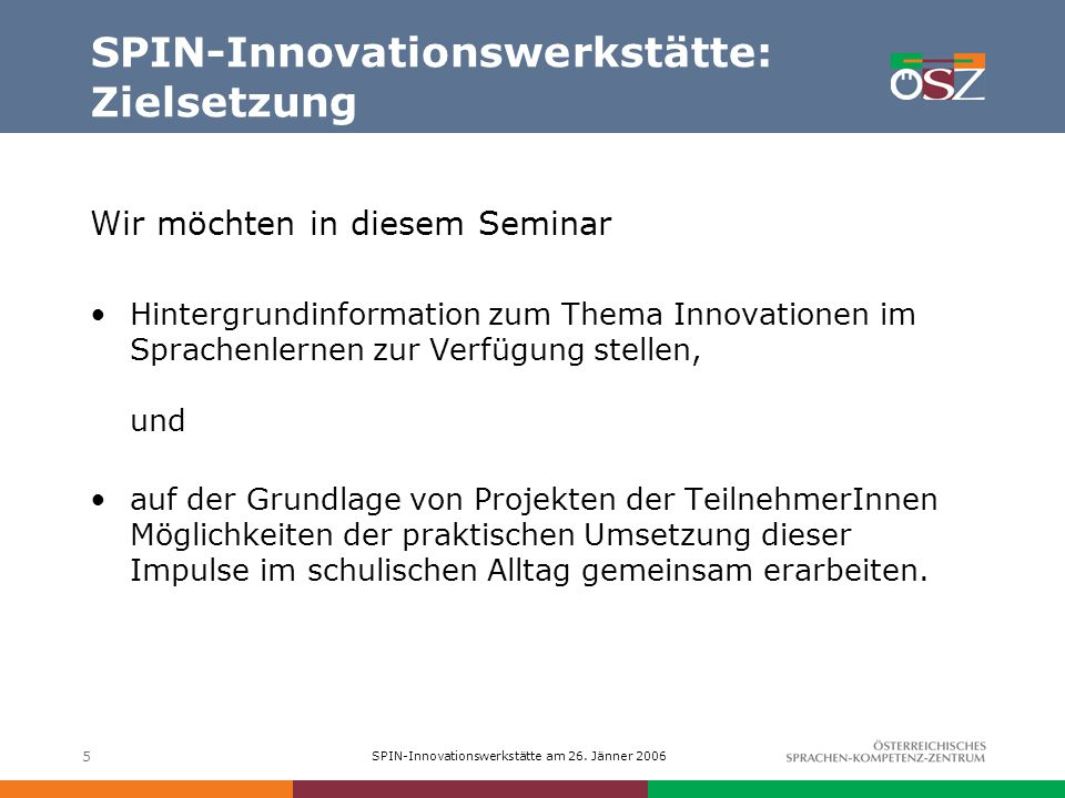 SPIN-Innovationswerkstätte am 26.