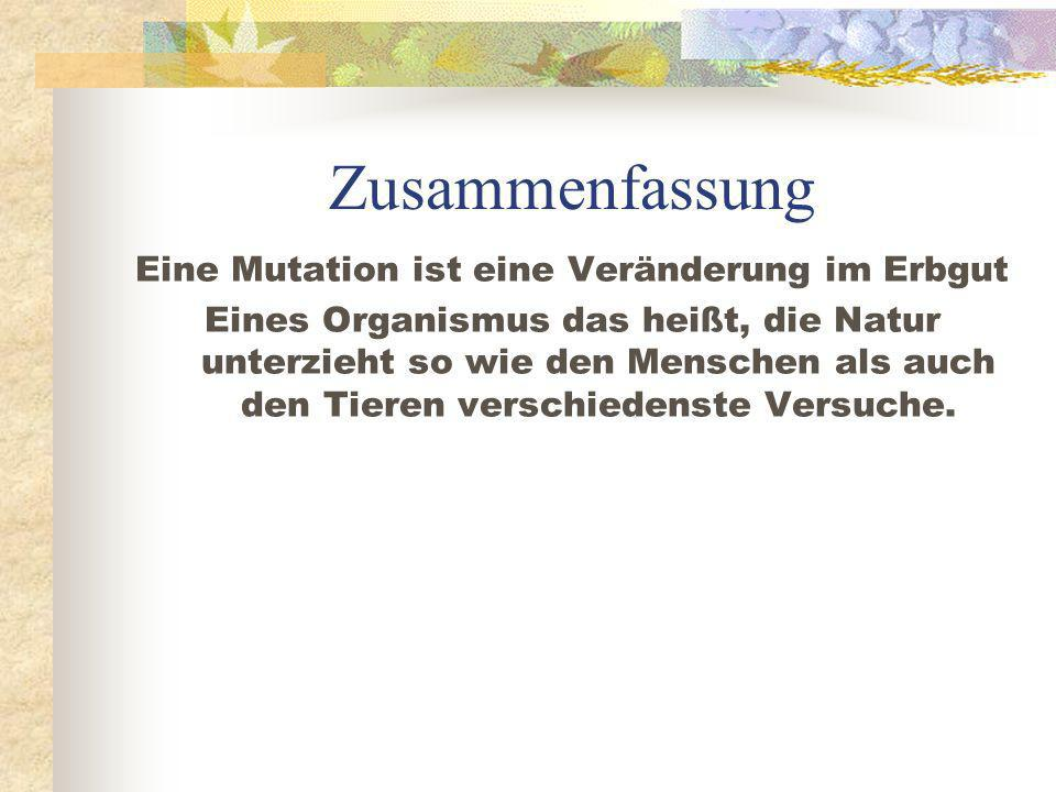 Zusammenfassung Eine Mutation ist eine Veränderung im Erbgut Eines Organismus das heißt, die Natur unterzieht so wie den Menschen als auch den Tieren verschiedenste Versuche.