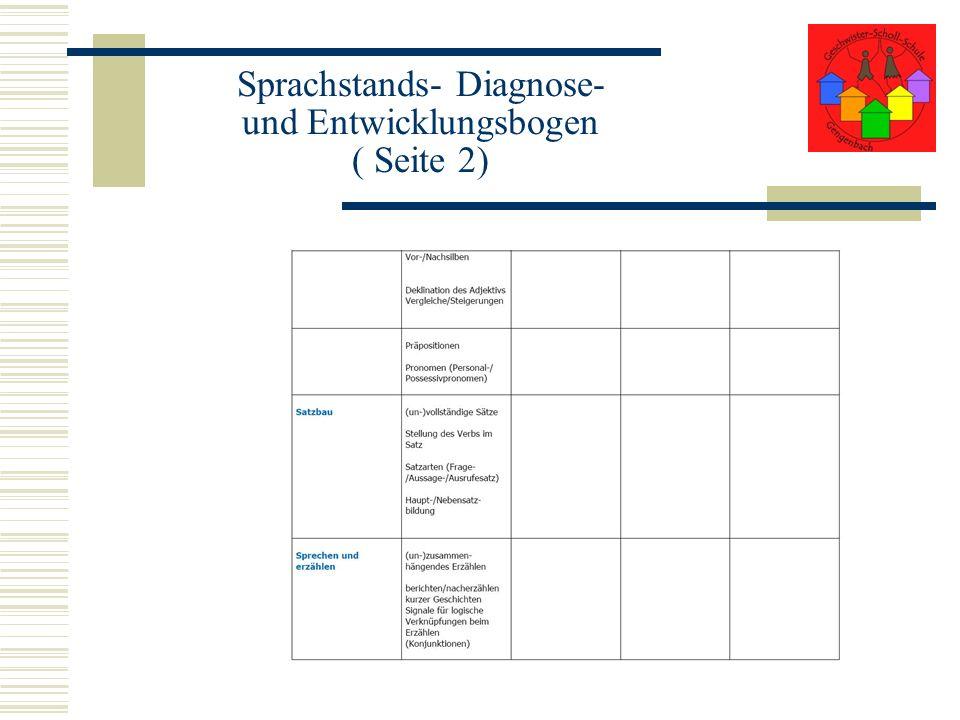 Sprachstands- Diagnose- und Entwicklungsbogen ( Seite 2)