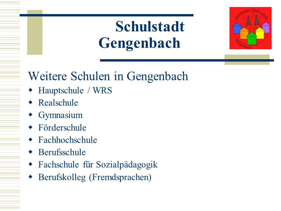 Schulstadt Gengenbach Weitere Schulen in Gengenbach Hauptschule / WRS Realschule Gymnasium Förderschule Fachhochschule Berufsschule Fachschule für Soz