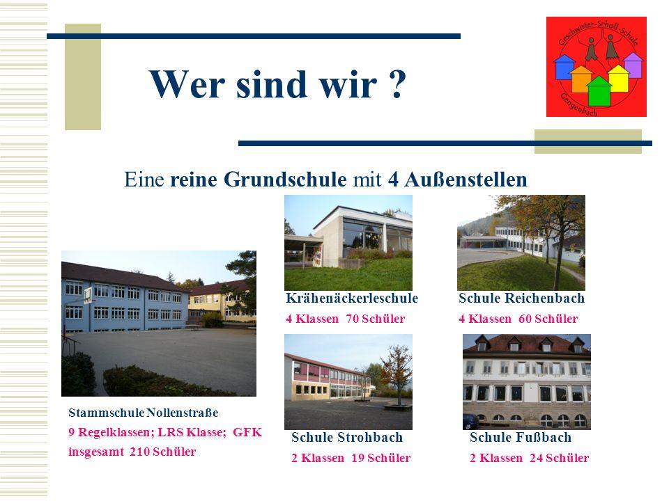 Wer sind wir ? Eine reine Grundschule mit 4 Außenstellen Stammschule Nollenstraße 9 Regelklassen; LRS Klasse; GFK insgesamt 210 Schüler Krähenäckerles
