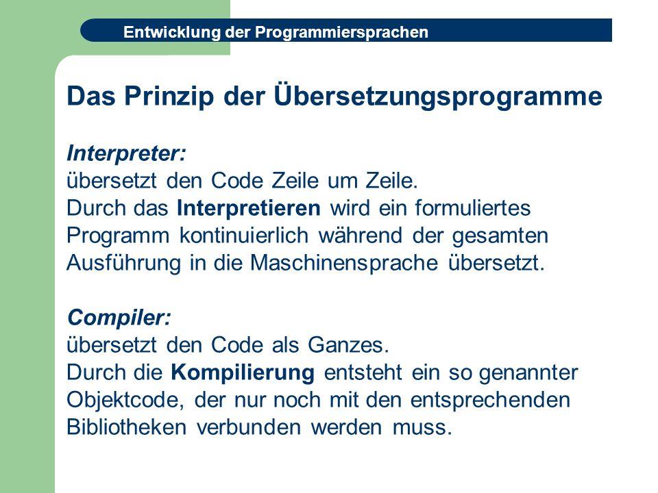 Entwicklung der Programmiersprachen Das Prinzip der Übersetzungsprogramme Interpreter: übersetzt den Code Zeile um Zeile.