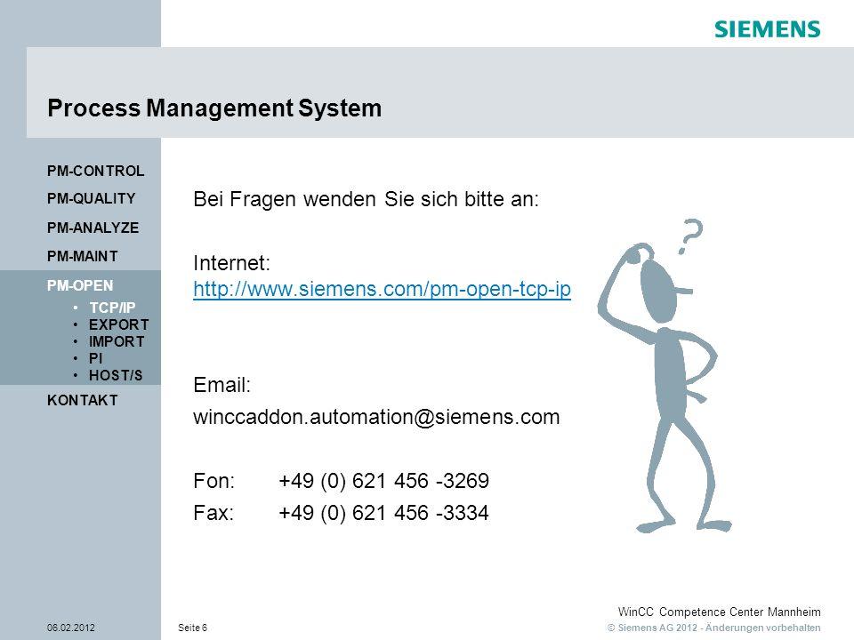 © Siemens AG 2012 - Änderungen vorbehalten WinCC Competence Center Mannheim 06.02.2012Seite 6 KONTAKT PM-OPEN TCP/IP EXPORT IMPORT PI HOST/S PM-QUALIT
