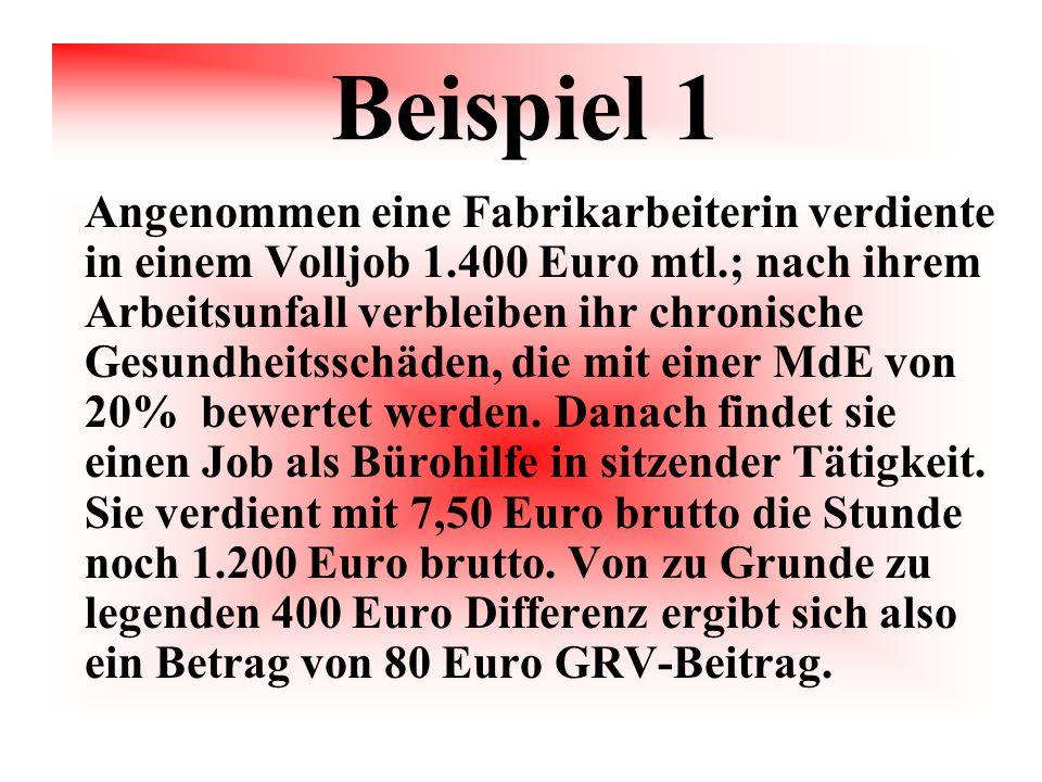 Beispiel 1 Angenommen eine Fabrikarbeiterin verdiente in einem Volljob 1.400 Euro mtl.; nach ihrem Arbeitsunfall verbleiben ihr chronische Gesundheits