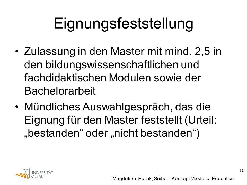 Mägdefrau, Pollak, Seibert: Konzept Master of Education 10 Eignungsfeststellung Zulassung in den Master mit mind. 2,5 in den bildungswissenschaftliche