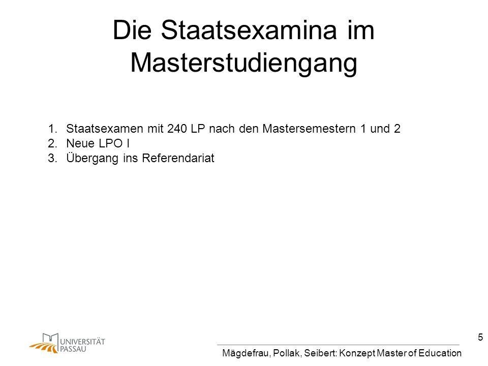 Mägdefrau, Pollak, Seibert: Konzept Master of Education 5 Die Staatsexamina im Masterstudiengang 1.Staatsexamen mit 240 LP nach den Mastersemestern 1 und 2 2.Neue LPO I 3.Übergang ins Referendariat