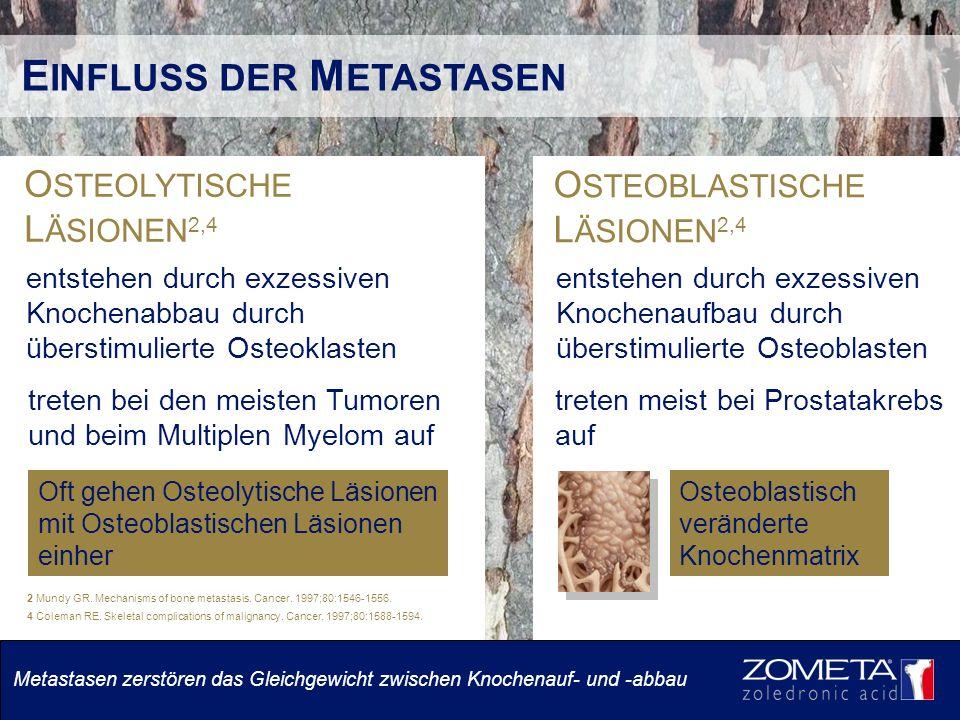 O STEOLYTISCHE L ÄSIONEN 2,4 E INFLUSS DER M ETASTASEN O STEOBLASTISCHE L ÄSIONEN 2,4 entstehen durch exzessiven Knochenabbau durch überstimulierte Osteoklasten treten bei den meisten Tumoren und beim Multiplen Myelom auf entstehen durch exzessiven Knochenaufbau durch überstimulierte Osteoblasten treten meist bei Prostatakrebs auf Oft gehen Osteolytische Läsionen mit Osteoblastischen Läsionen einher Osteoblastisch veränderte Knochenmatrix 2 Mundy GR.