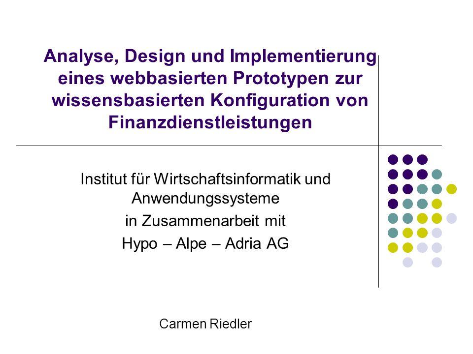 Analyse, Design und Implementierung eines webbasierten Prototypen zur wissensbasierten Konfiguration von Finanzdienstleistungen Institut für Wirtschaf