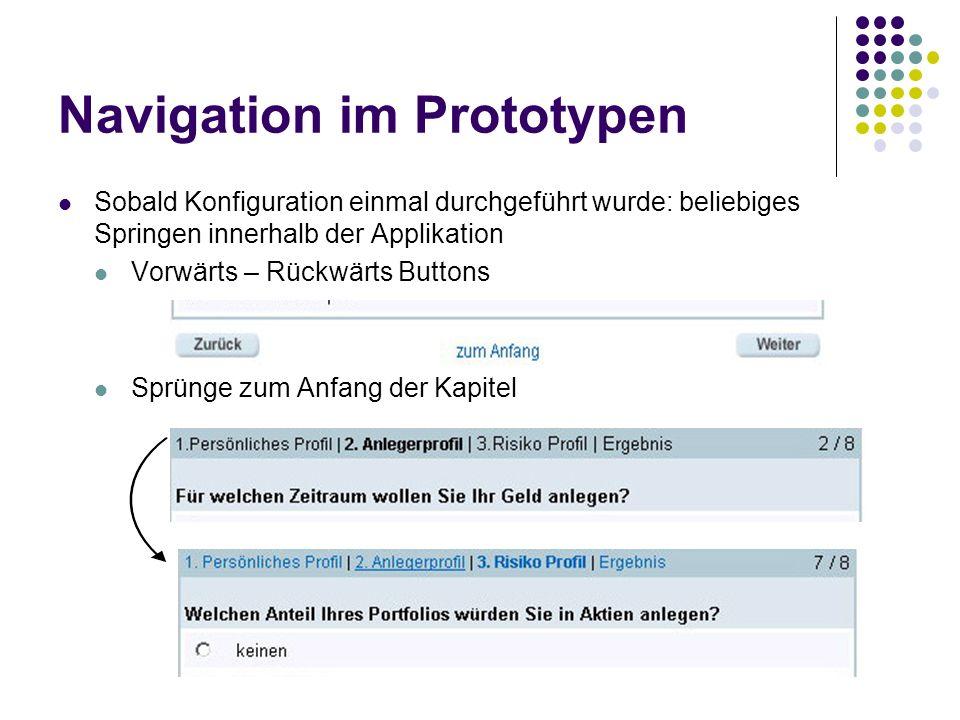 Navigation im Prototypen Sobald Konfiguration einmal durchgeführt wurde: beliebiges Springen innerhalb der Applikation Vorwärts – Rückwärts Buttons Sp