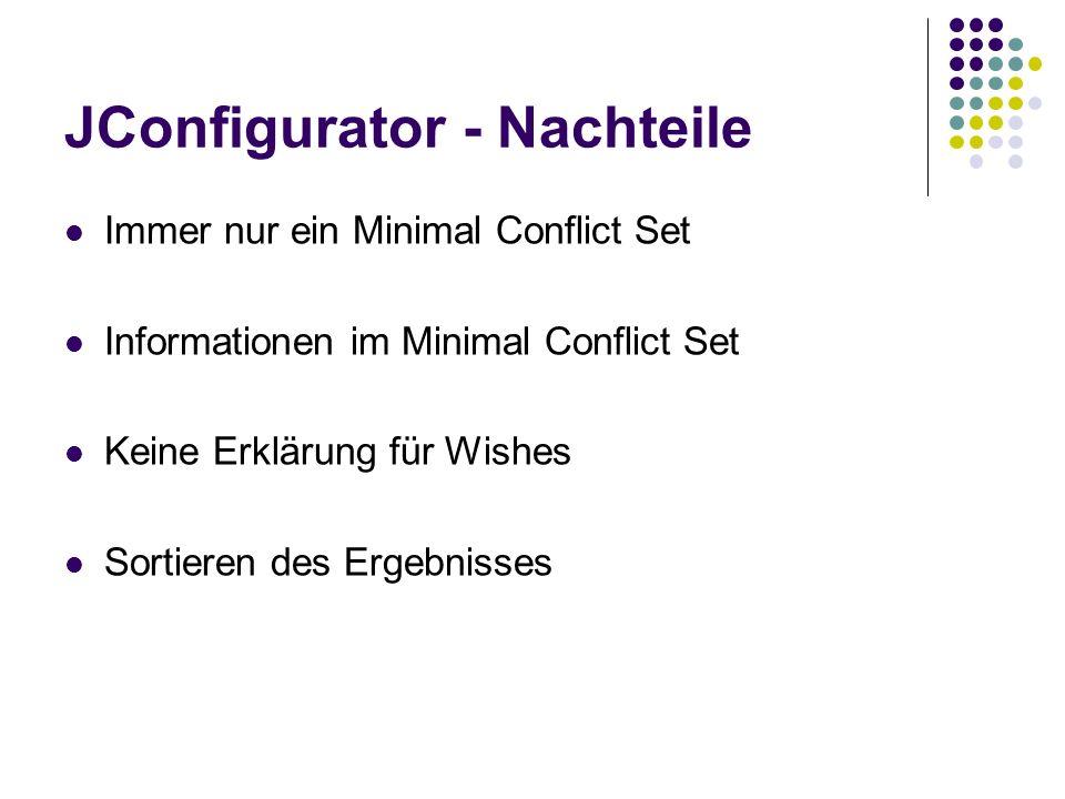 JConfigurator - Nachteile Immer nur ein Minimal Conflict Set Informationen im Minimal Conflict Set Keine Erklärung für Wishes Sortieren des Ergebnisse