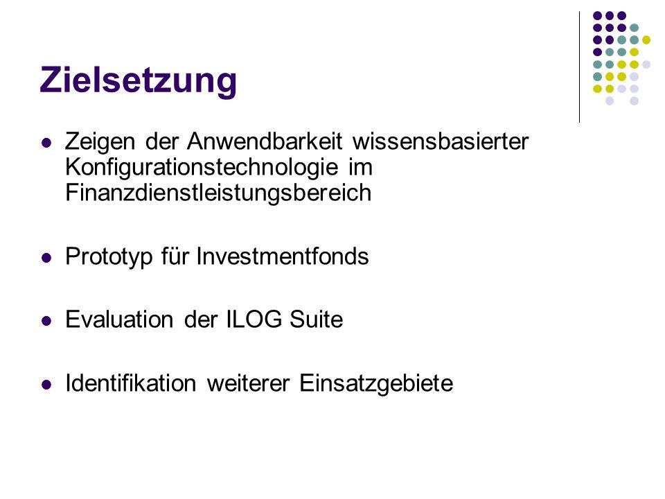 Zielsetzung Zeigen der Anwendbarkeit wissensbasierter Konfigurationstechnologie im Finanzdienstleistungsbereich Prototyp für Investmentfonds Evaluatio