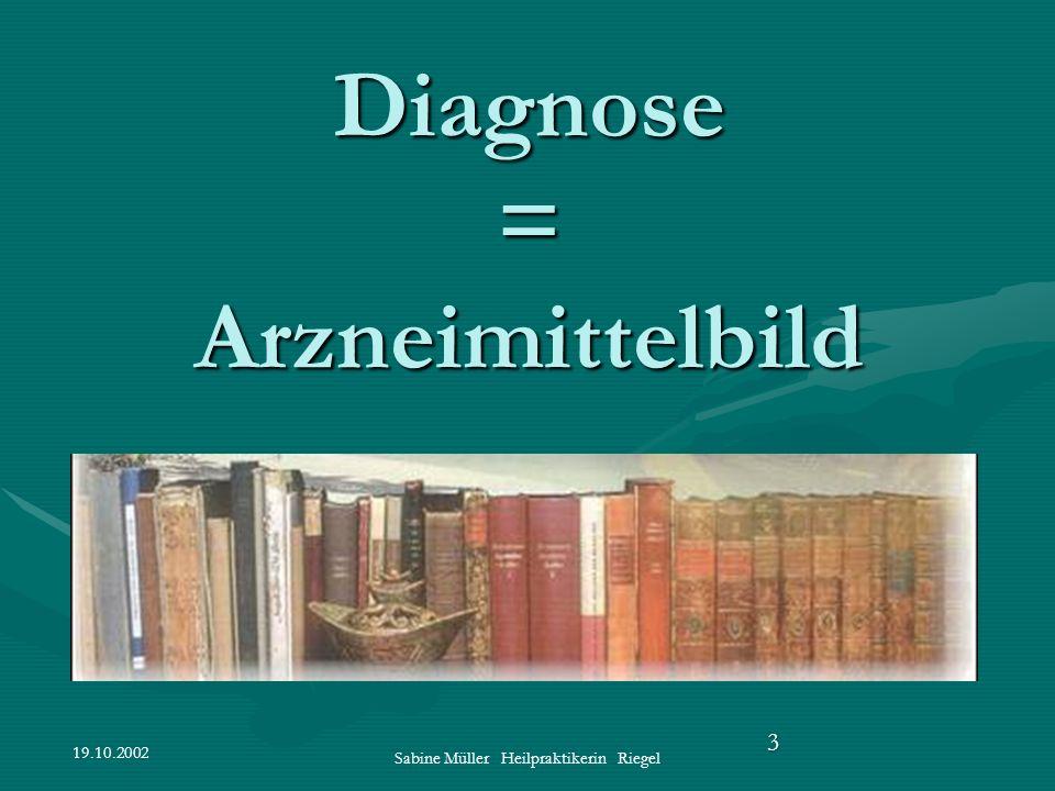 19.10.2002 Sabine Müller Heilpraktikerin Riegel 3 Diagnose = Arzneimittelbild