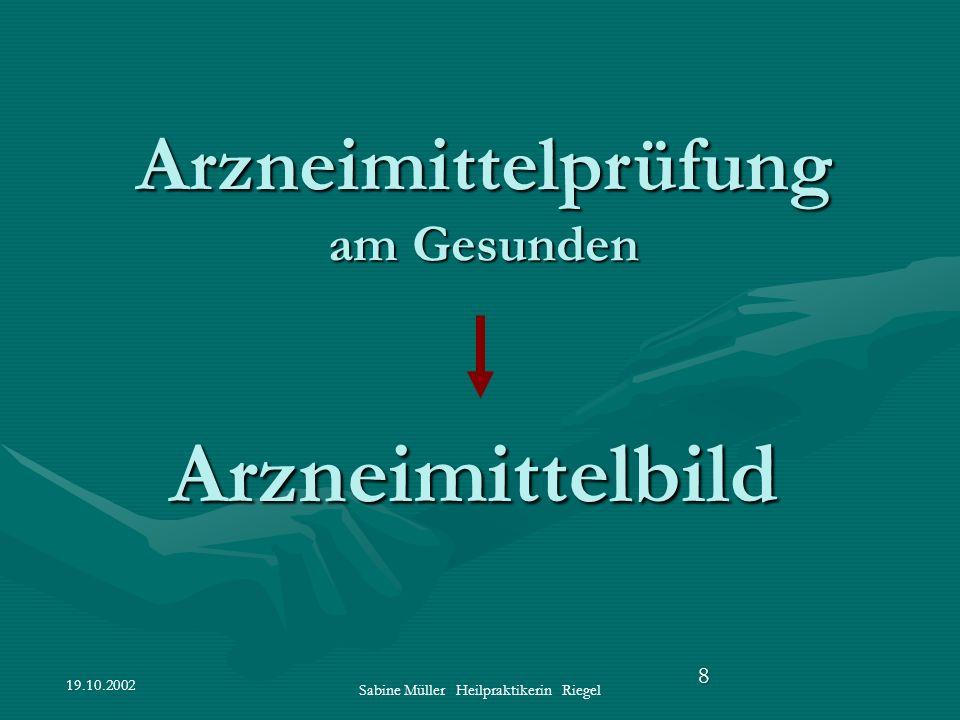 19.10.2002 Sabine Müller Heilpraktikerin Riegel 8 Arzneimittelbild Arzneimittelprüfung am Gesunden