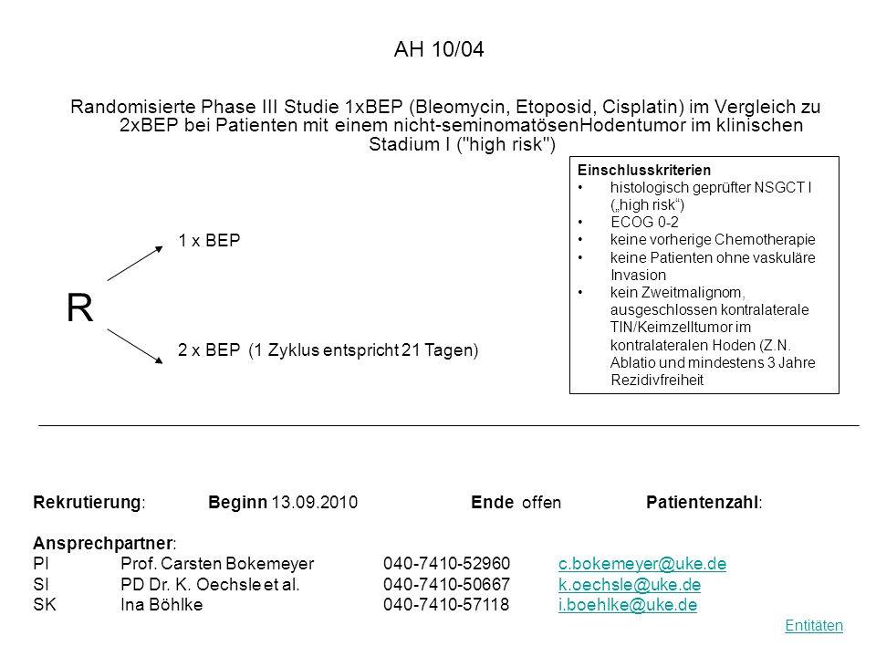 AH 10/04 Randomisierte Phase III Studie 1xBEP (Bleomycin, Etoposid, Cisplatin) im Vergleich zu 2xBEP bei Patienten mit einem nicht-seminomatösenHodent