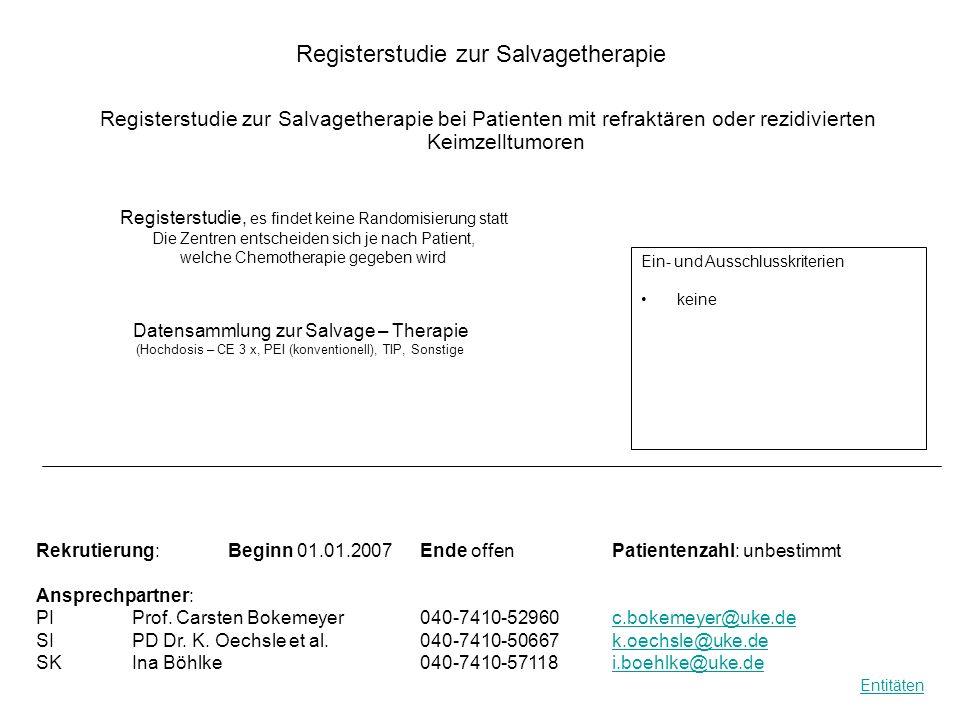 Registerstudie zur Salvagetherapie Registerstudie zur Salvagetherapie bei Patienten mit refraktären oder rezidivierten Keimzelltumoren Datensammlung z