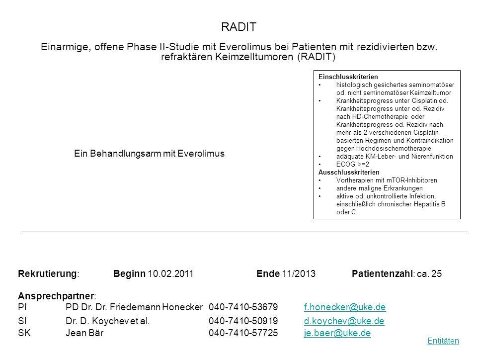 RADIT Einarmige, offene Phase II-Studie mit Everolimus bei Patienten mit rezidivierten bzw. refraktären Keimzelltumoren (RADIT) Ein Behandlungsarm mit