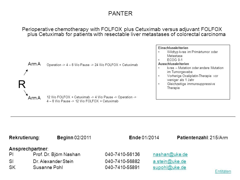 PANTER Perioperative chemotherapy with FOLFOX plus Cetuximab versus adjuvant FOLFOX plus Cetuximab for patients with resectable liver metastases of co
